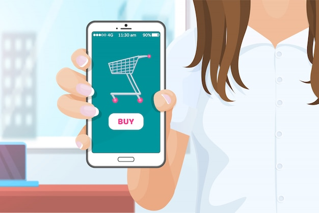 Kup aplikację online telefon komórkowy w ręku