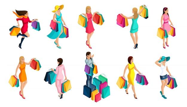 Kup dziewczynę izometrię, emocje kobiet, szczęście, wyprzedaż, pakiety, wakacje, czarny piątek. modne ubrania dla nowoczesnej dziewczyny