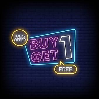 Kup jeden dostaj jeden bezpłatny neon styl wektor tekst tekstu