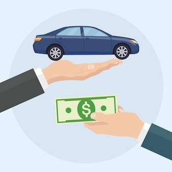 Kup lub wypożycz samochód. ludzka ręka trzyma auto i pieniądze
