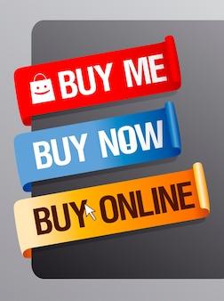 Kup mnie, kup teraz i kup online zestaw wstążek wektorowych
