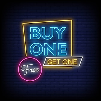 Kup one get one free neon signs text text