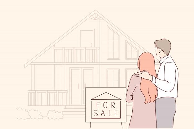 Kup, sprzedaż, dom, nieruchomości, koncepcja rodziny