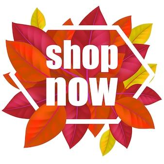 Kup teraz napis z kolorowymi liśćmi w ramce. nowoczesne kreatywne napis z ciemnymi liśćmi