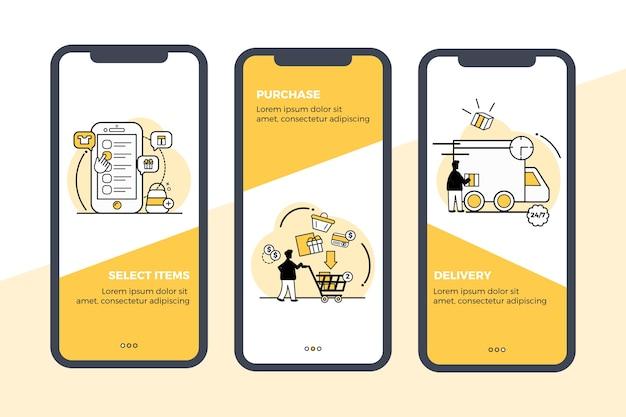Kup zestaw ekranów aplikacji onboarding online