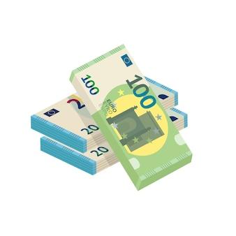 Kupa pieniędzy, ilustracja stos gotówki, dwadzieścia i sto banknotów euro na białym tle.