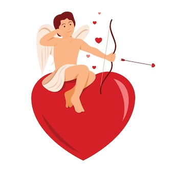 Kupidyn siedzi na wielkim sercu do dekoracji walentynkowej.