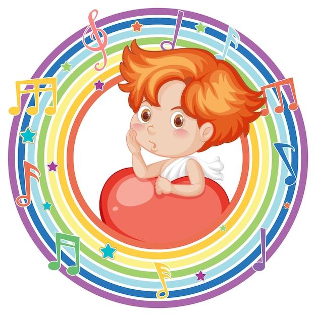 Kupidyn w tęczowej okrągłej ramce z symbolem melodii