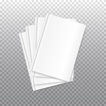Kupie białe puste okładki książek na przezroczystym tle.