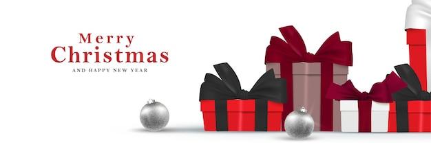 Kupie pudełka prezent świąteczny transparent. wesołych świąt i szczęśliwego nowego roku realistyczne tło ilustracji