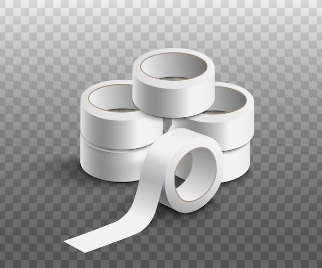 Kupie puste białe rolki taśmy klejącej, realistyczna makieta wektorowa lub ilustracja szablon na przezroczystym tle. układ na papeterię lub taśmę pakową.