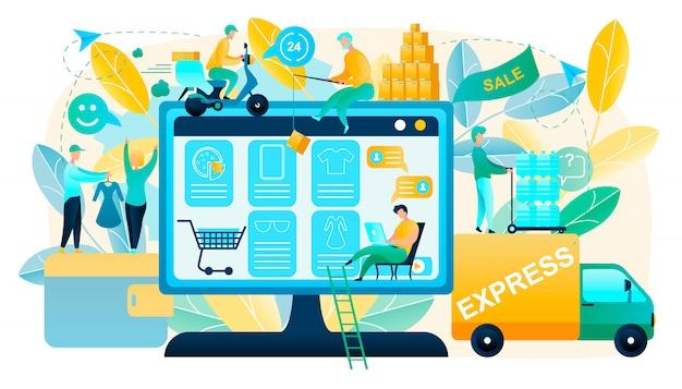 Kupienie towarów na sprzedaż w online shop vector concept
