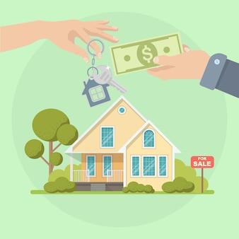 Kupno domu. koncepcja nieruchomości i domu na sprzedaż. ilustracja. płaski styl