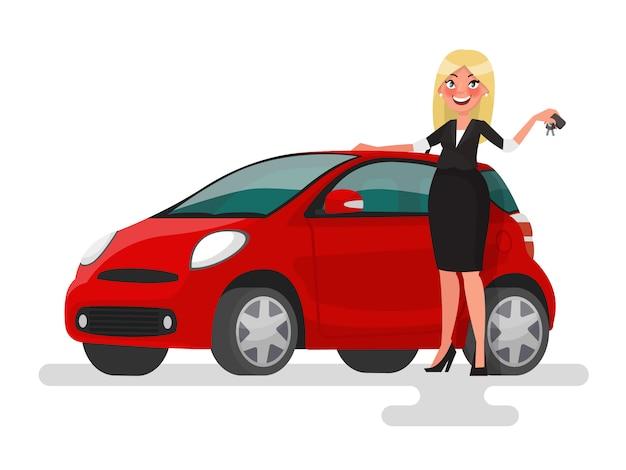 Kupno lub sprzedaż samochodu. blondynki kobieta trzyma klucze blisko samochodu. ilustracja w stylu kreskówki
