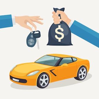 Kupno nowego samochodu. ręka trzyma klucz samochodowy i worek pieniędzy