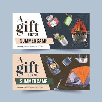 Kupon kempingowy z ilustracjami jedzenia, ogniska, łopaty i namiotu.