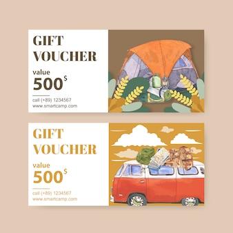 Kupon kempingowy z ilustracjami latarni, namiotu, furgonetki i plecaka