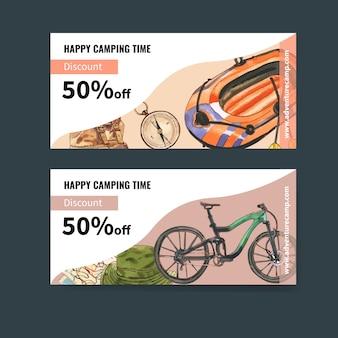 Kupon kempingowy z ilustracjami łodzi, kompasu, plecaka i roweru.