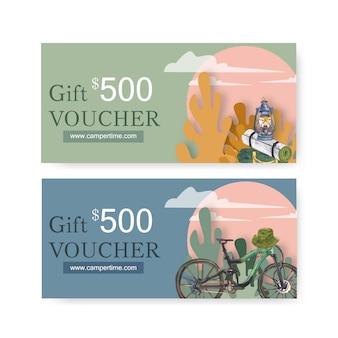 Kupon kempingowy z ilustracjami na matę, latarnię i rower.