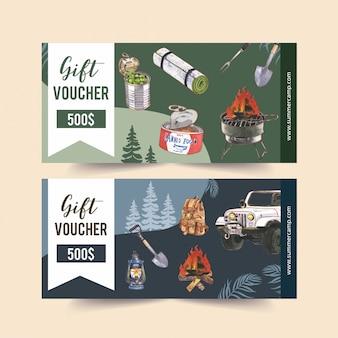 Kupon kempingowy z ilustracjami na temat furgonetki, jedzenia, plecaka i łopaty.