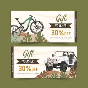 Kupon kempingowy z ilustracjami roweru, samochodu i lasu.