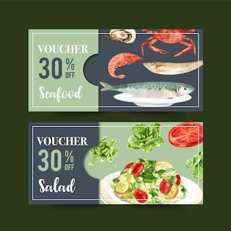 Kupon na światowy dzień żywności z krewetkami, rybami, krabami, maślanymi, pomidorowymi akwareli ilustracjami.