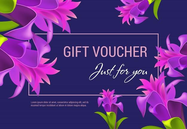 Kupon podarunkowy tylko dla ciebie napis w ramce z fioletowymi kwiatami.