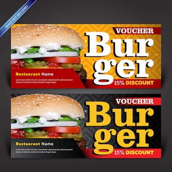 Kupon rabatowy burger, szablon kupon projekt