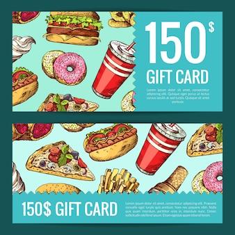 Kupon rabatowy lub upominkowy z ręcznie rysowane kolorowe banery fast food