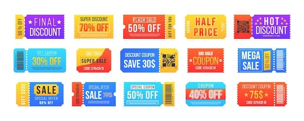 Kupon rabatowy na dużą sprzedaż i super wyprzedaż. bilet do kina w stylu vintage i wydarzenie festiwalowe, kupon do kina