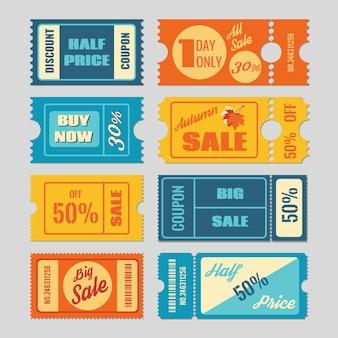Kupon rabatowy, sprzedaż biletów wektor zestaw. etykieta i tag, cena detaliczna, ilustracja biznesowa promocji
