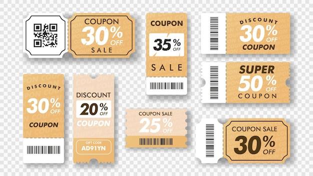 Kupon sprzedaż kuponów projekt makiety na sprzedaż i prezenty wydarzenia zniżkowe kolekcja biletów vector