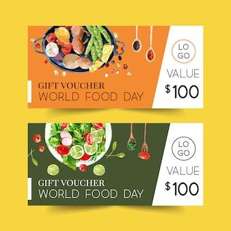 Kupon światowy dzień żywności z sałatką, pieczarkami, groszkiem, ogórek akwarela ilustracja.