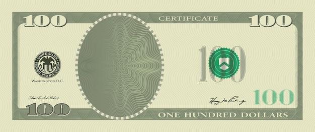 Kupon szablon banknot 100 dolarów ze znakami wodnymi wzór giloszowy i obramowaniem. zielonym tle banknot, bon upominkowy, kupon, pieniądze, waluta, czek, czek, nagroda, certyfikat wektor wzór.