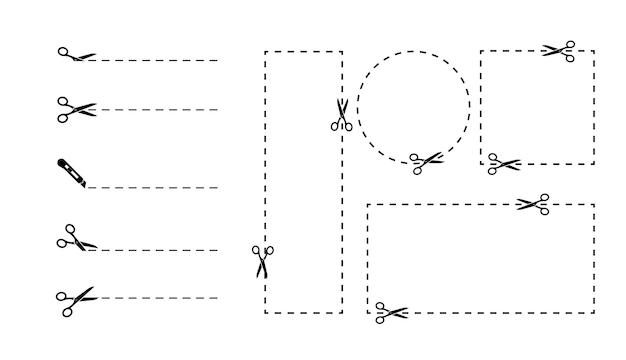 Kupon wyciąć nożyczkami inny kształt. zestaw granic kuponów. wytnij wzdłuż przerywanej linii. ilustracja wektorowa linii cięcia i nożyczek