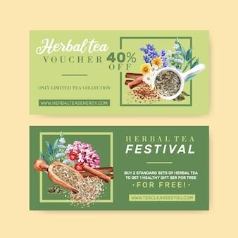 Kupon ziołowej herbaty z lawendy, rumianku, szałwii, cynamon akwarela ilustracja.