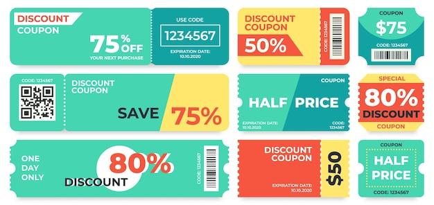 Kupon znizkowy. oferta za pół ceny, kupon upominkowy z kodem promocyjnym i szablon kuponów