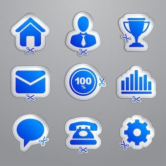 Kupony i naklejki. ikony witryny sieci web.