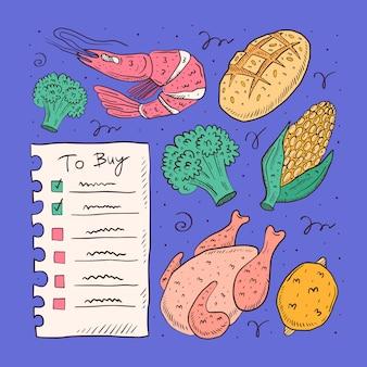 Kupować listy doodle ręka rysującą ilustrację. pojedynczo na białym tle. elementy kreskówek. lista kontrolna, kurczak, brokuły, kukurydza, krewetki, chleb. rynek, sklep.