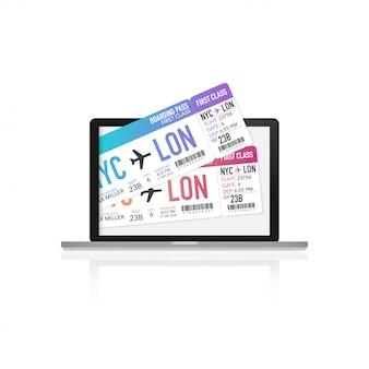 Kupowanie biletów lotniczych na laptopie. komputer z biletem w samolocie. ilustracji wektorowych.