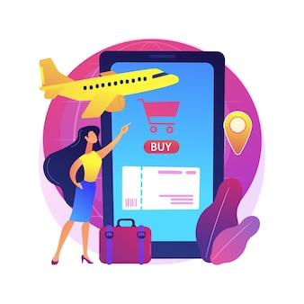 Kupowanie biletów online streszczenie ilustracja koncepcja. aplikacja mobilna do rezerwacji online, zakupy w e-commerce, zakup przez internet, zakup biletów z wyprzedzeniem na stronie internetowej.