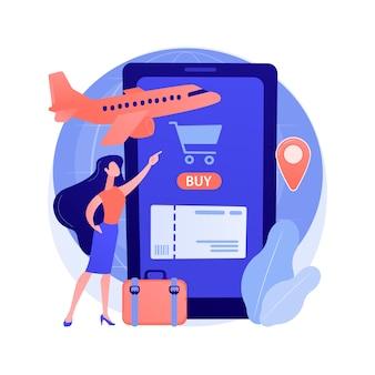 Kupowanie biletów online streszczenie ilustracja koncepcja