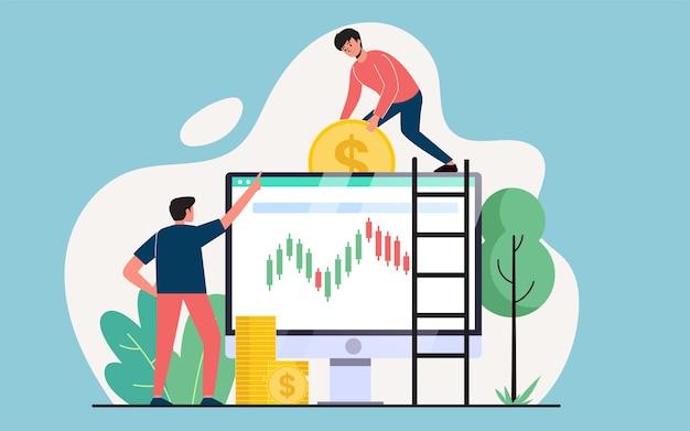 Kupowanie i sprzedawanie akcji, handel online, koncepcja projektowania nowoczesnych płaskich ilustracji dla stron internetowych lub tła