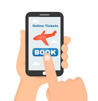 Kupowanie lub rezerwacja biletów lotniczych online ze smartfona. ilustracja kreskówka mieszkanie. pojedynczo na białym tle