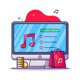 Kupowanie muzyki na ilustracji kreskówki monitora