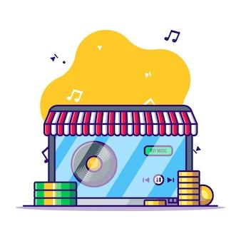Kupowanie muzyki na laptopie ilustracja kreskówka