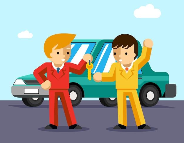 Kupowanie samochodu. mężczyzna dostaje klucze do samochodu. sprzedaż i dawanie, dealer samochodów, ludzie kupujący, właściciel sukcesu lub prowadzący.