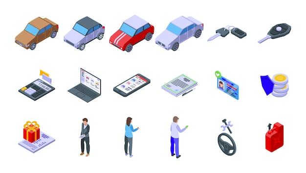 Kupowanie zestawu ikon samochodu. izometryczny zestaw kupowania ikon wektorowych samochodu do projektowania stron internetowych na białym tle