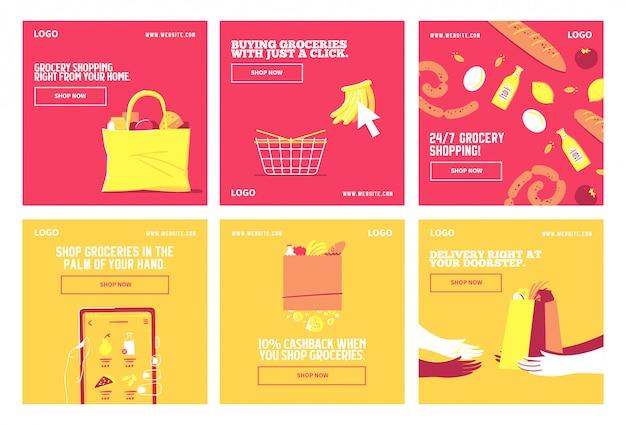 Kupuj dostawy artykułów spożywczych szablon kolekcji postów w mediach społecznościowych