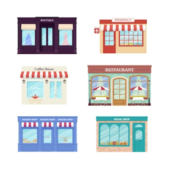 Kupuj, kupuj z przodu. . witryny sklepowe butik, kawiarnia, restauracja, apteka, piekarnia i księgarnia. ustaw elewacyjne budynki handlowe na białym tle w mieszkaniu. ilustracja kreskówka. architektura uliczna.